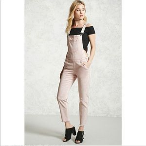 F21 light pink skinny denim overalls 30 raw edge